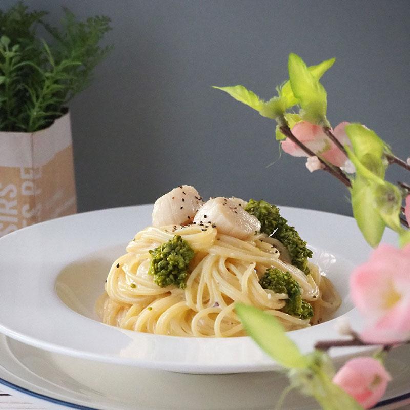 ホタテの菜の花の味噌クリームパスタ