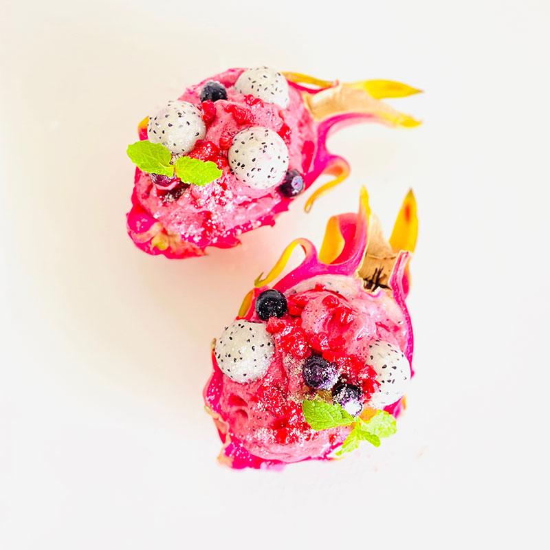 ピタヤとラズベリーのアイスクリーム