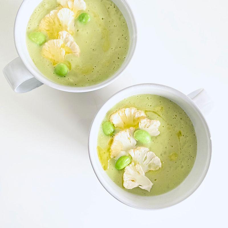 カリフラワーと枝豆ミルクスープ